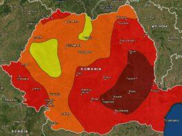 Harta de hazard seismic calitativ pentru perioada de revenire de 1000 de ani. Harta a fost realizată în cadrul Proiectului Ro-Risk (Evaluarea Riscurilor de Dezastre la Nivel Național), în anul 2017. Sursa: infp.ro